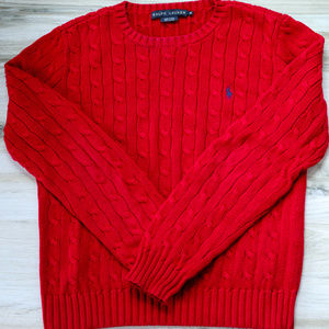 Ralph Lauren Red Pullover Cable Sweater
